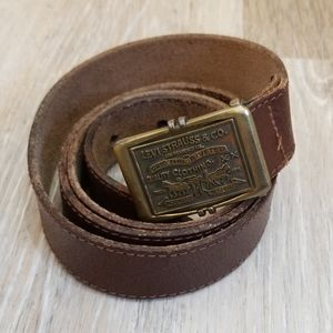 Levi's Brown Leather Belt with Logo Buckle